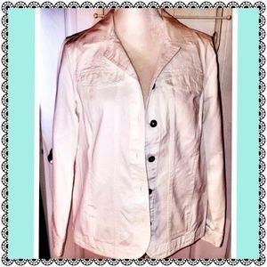 Jackets & Blazers - Denim/jean jacket, white embroidered, 100% cotton